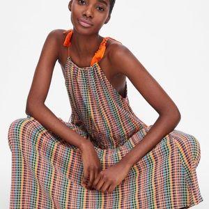 Zara Strappy Multi Color Maxi Dress Tassel M